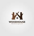 wooden house logo symbol design vector image vector image