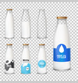 set of icons glass bottles with a milk in a vector image