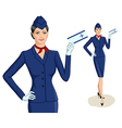 Stewardess with ticket vector image