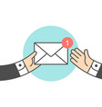 icon of new mail envelope two businessman vector image