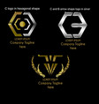 3 set company logotype in gold and silver vector image vector image
