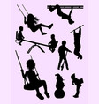 active kids gesture silhouette vector image
