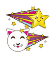 adorable little cat with smile star vector image vector image