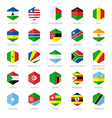 Africa Flag Icons Hexagon Flat Design vector image