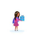 african american girl holding gift box happy new vector image vector image