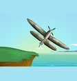 army airplane flying over the ocean vector image vector image