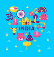 bright banner with india national symbols in flat vector image vector image