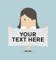 businesswoman holding a banner for your text vector image