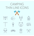 Camping related flat icon set vector image vector image