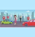 car sharing man and woman looking for vehicle vector image vector image
