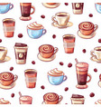 Coffee cups and beans seamless pattern beverage