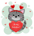 congratulations on valentine s day a cute gray vector image vector image
