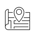 contoured location pin on paper map icon vector image vector image