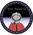 cosmonaut yuri gagarin in the porthole vector image vector image