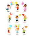 cute happy kid with balloons little boys and vector image vector image