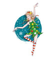 dancing christmas elf vector image