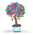 doodle tree in a pot with heart fruits and flowers vector image vector image