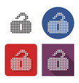 dotted icon unlocked padlock in four variants vector image vector image