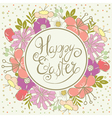 Easter card with floral wreath