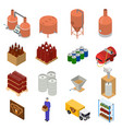 equipment and beer production set isometric view vector image vector image
