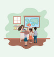 female teacher in the geography class with vector image vector image