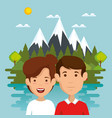 friends in the landscape scene vector image