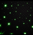 green light stars on black transparent background vector image vector image