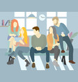 group of people relaxing and chatting on a bench vector image