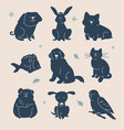 guess animal - set characters silhouettes vector image
