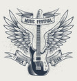 guitar with wings electric guitar and angel vector image vector image