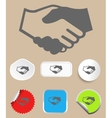 Handshake icon with stickers vector image vector image