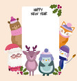 happy new year santa bear fox reindeer penguin and vector image vector image