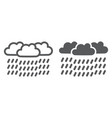 heavy rain line and glyph icon weather and vector image vector image