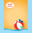 hello summer card banner with beach ball paper vector image vector image