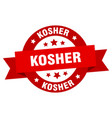 kosher ribbon kosher round red sign kosher vector image vector image