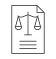 legal document thin line icon law and paper vector image vector image