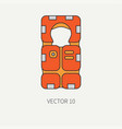 line flat color beach rescue equipment icon vector image vector image