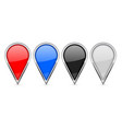 location pin icons colored set with chrome frame vector image