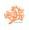 nature symbol tropical bird and flower leaves art vector image vector image