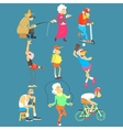 Old People Activities Set vector image