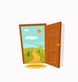 open door cartoon colorful vector image vector image
