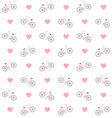 pattern flat pink bicycle with hearts vector image