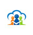 people cloud connection group logo vector image