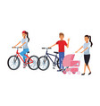 people riding bike vector image vector image
