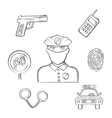 Policeman in uniform with sketched police icons vector image vector image