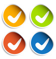 positive checkmark stickers vector image vector image