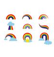 rainbow set isolated on white background vector image vector image