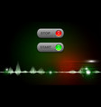 realistic start and stop button on abstract vector image vector image