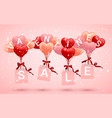 sale happy valentines day background red pink and vector image vector image