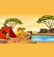 scene with kids camping in desert field vector image vector image